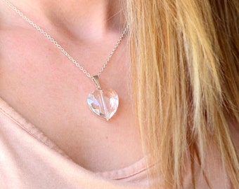 Large Faceted Clear Crystal Heart Necklace Silver