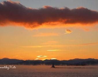 Amazing Sunset Photo Print Burlington Vermont on Lake Champlain with Below Zero Temps