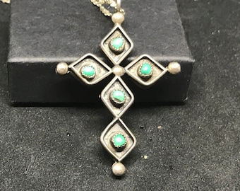 Vintage Sterling Silver Reversible Cross Pendant and Necklace