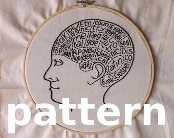 Music brain modern hand embroidery pattern - instant digital download PDF in english and spanish - music genres phrenology modern embroidery