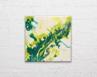 Bursting Leaves 8x8 Acrylic and silver mica on Canvas - Abstract Modern Marbled Painting in teal and green