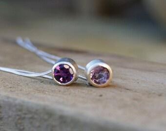 Amethyst slider necklace, February birthstone necklace