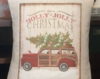 Vintage Holly Jolly Christmas Red Woody Truck Farmhouse Pillow, Christmas Farmhouse Throw Pillow Cover, Cottage Style Pillow