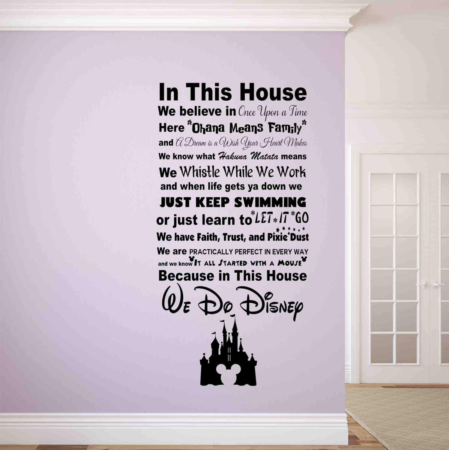 Disney Quote Plaques: In This House We Do Disney Wall Decal-Disney Wall Signs-Disney