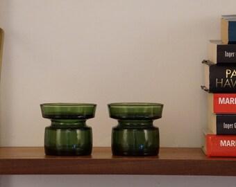 Dansk Designs Green Glass Candle Holders designed by Jens Quistgaard JHQ Danish Denmark Mid Century Modern
