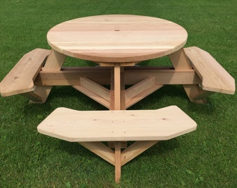"""45"""" Round Top Picnic Table Western Red Cedar"""