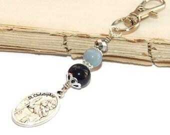 Clip-On Key Chain or Bag Charm, Saint Christopher Medal, Gemstone Beads / Safe Travel