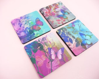 BUTTERFLY COASTERS Set of 4 Butterflies Foliage Garden Decor Desk Table Gift Giving Beautiful Vivid Colors 3.5 inch x 3.5""