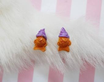 Taiyaki Ice Cream Earrings in Ube - Purple Kawaii Dessert Studs