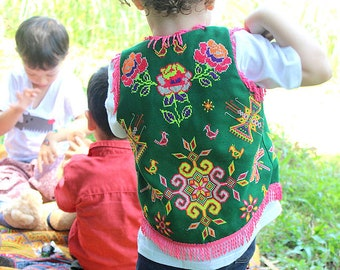 Little Girls Vintage Hmong Fringed Vest, Emerald Green Colorful Flowers With Bright Pink Fringe, Boho Girls Fashion FREE Shipping