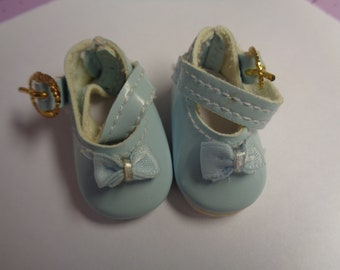 Teeny Tiny Blue Mary Jane buckle Strap Doll Shoes  Vintage Doll Shoes-Size 8