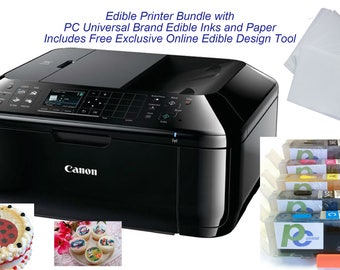 Edible Printer Bundle- Brand New Canon All-in-One Printer with Edible Wafer Paper Inks and Online Design Tool, by PC Universal