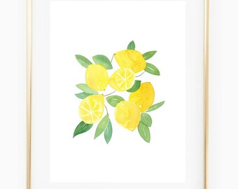 Lemons - Watercolor Art Print, yellow decor, orchard, kitchen decor, wall gallery, gift for her, botanical print