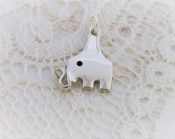 Petite Fork ELEPHANT Pendant - Silverware Jewelry with Sterling Silver Chain - Choice of Length - 2 Available & Ready To Ship