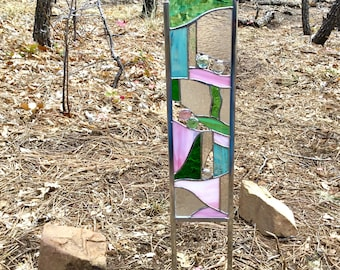 Pink and Green Stained Glass Garden Stake