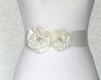 Flowers Bridal Sash. Wedding Flowers Sash Belt. Silk Flowers Wedding Sash