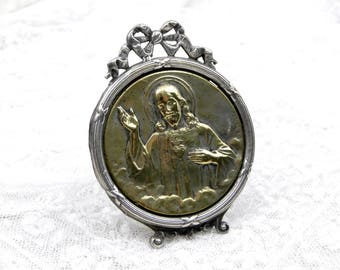 Small Antique French Gold and Silver Plated Free Standing Framed Medallion with Jesus Christ Sacre Coeur / Sacred Heart, Religious Decor