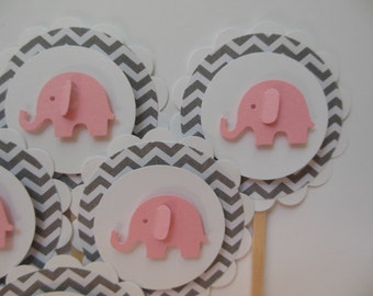 Elephant Cupcake Toppers - Pink and Gray Chevron - Girl Baby Showers - Girl Birthday Party Decorations - Set of 6