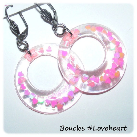 Earrings # resin gedeo # hoop # rings # sequins hearts # steel sleepers stainless # dollydoo # gift for her