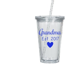 Baby Reveal Water Tumbler- Water Bottle- Water Tumbler- Pregnancy Reveal Gift- Grandma Gift- Grandma to Be- Mom Gift- Personalized Gift