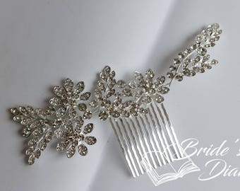 Bridal hair comb, rhinestone hair jewelry silver, classic bridal jewelry