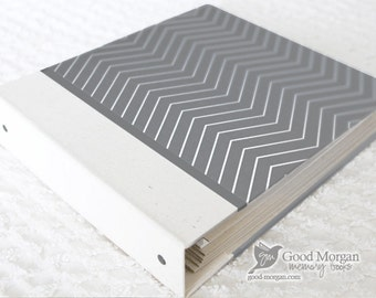 5 Year Baby Memory Book  - Grey Thin Chevron