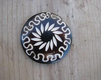 Dark Brown Pendant- Resin with Scrolled Designs