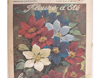 1948, French review, RUSTICA, Clematis, summer flowers, antique French flower illustration, Dahlias