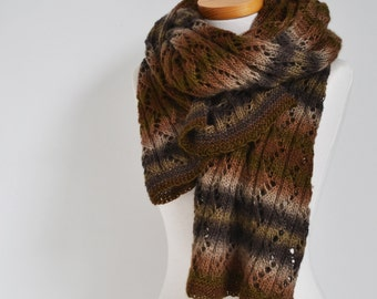Lace knitted shawl, shades of brown,  P450