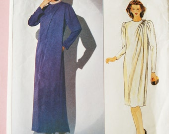 Retro 80s Vogue Patterns 1117 America Designer Jerry Silverman Dress Two Lengths Sewing Pattern Vintage Size 18