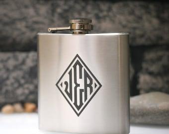 Diamond Monogram  - Personalized 6oz Engraved Liquor Hip Flask - Weddings - Birthdays - Special Occasion