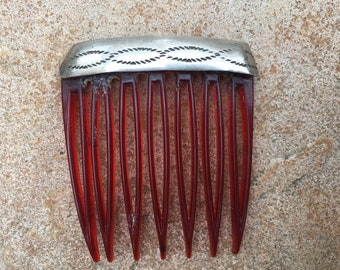 Vintage Etched Sterling Silver Hair Comb Native American
