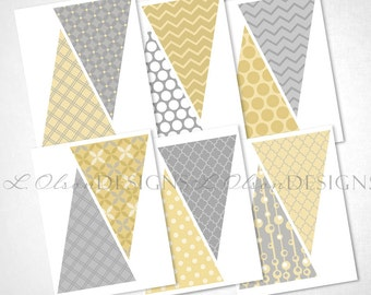 Yellow, Gray, and White Banner - DIY Printable - INSTANT DOWNLOAD