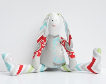 Easter bunny toy Stuffed bunny toy stuffed rabbit hare softie plush rabbit bunny doll gray red blue green chevron toy gift for boy and girl