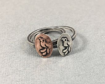 Little Bird Ring Sterling Silver Stacking Ring in Sterling Silver or Copper Budgie Ring Handmade Ring You Choose