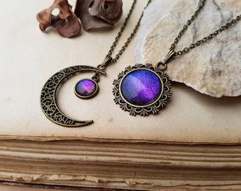 2 Sun and Moon Necklaces | friendship necklaces | best friend necklaces | sun and moon jewelry | sisters jewelry | Aurora Borealis