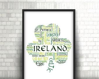 Shamrock Ireland Word Art - Instant Download
