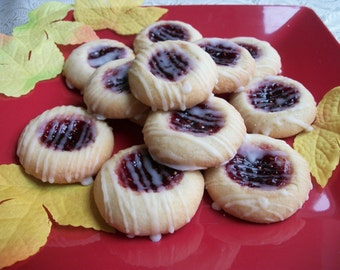 Shortbread Cookie, Raspberry Thumbprint Holiday Dessert Thanksgiving Christmas Dessert