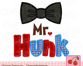 Mr. Hunk LIL Mister Embroidery Applique for boys - 4x4 5x5 6x6""