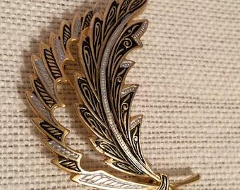 Damascene Feather Brooch Marked Spain