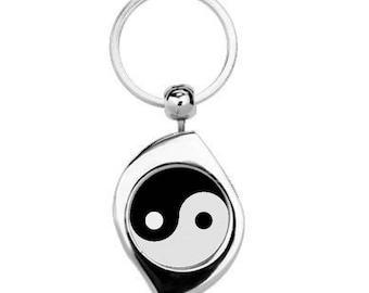 Yin and Yang Metal Keyring
