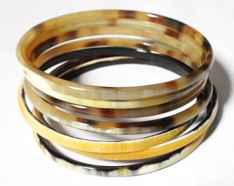 Horn bracelet set - Buffalo horn bracelet - Horn bangle bracelet - buffelhoorn armband KAI-3730