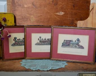 Set of 3 Vintage Matching Wooden Framed Red Locomotive Prints Wood Frame Ten Wheel Freight Mogul Double-Ender Railroad Train 1880s