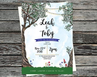 Personalised Forest Wedding Invitations, Enchanted Woodland Invites, Fairy lights, Into the Woods, Save the Date, Toadstools, RSVP, Trees