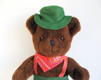 Vintage LL Bean Teddy Bear Hat Green Pants Red Suspenders Red Bandana Cuddle Toys styled by Douglas 1980s Toy Plush