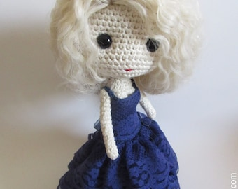 PDF Crochet Bluenavy Evening Gown Pattern for Deniz Doll