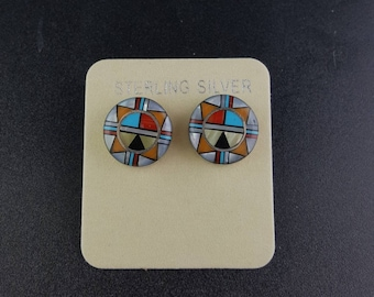 Navajo micro inlay Sterling silver post earrings