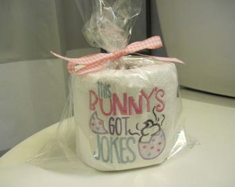 This BUNNY's got JOKES - Cute bathroom decor to brighten up the season just a little bit more. It makes a fun Easter Basket gift.