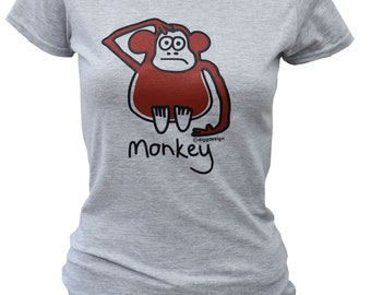 Womens cheeky MONKEY fitted grey T.shirt.