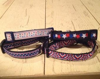 3/4 Wide Adjustable Patriotic Custom Made Dog Collar